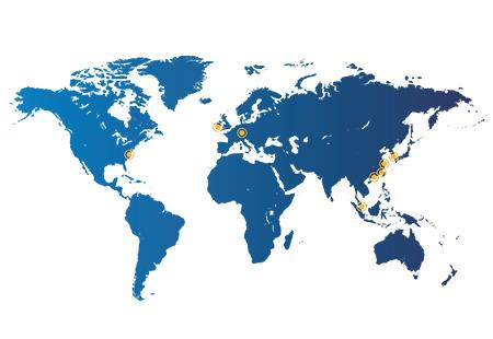북미, 아시아 및 유럽을 포함한 전 세계 다이맥스 사업장 지도
