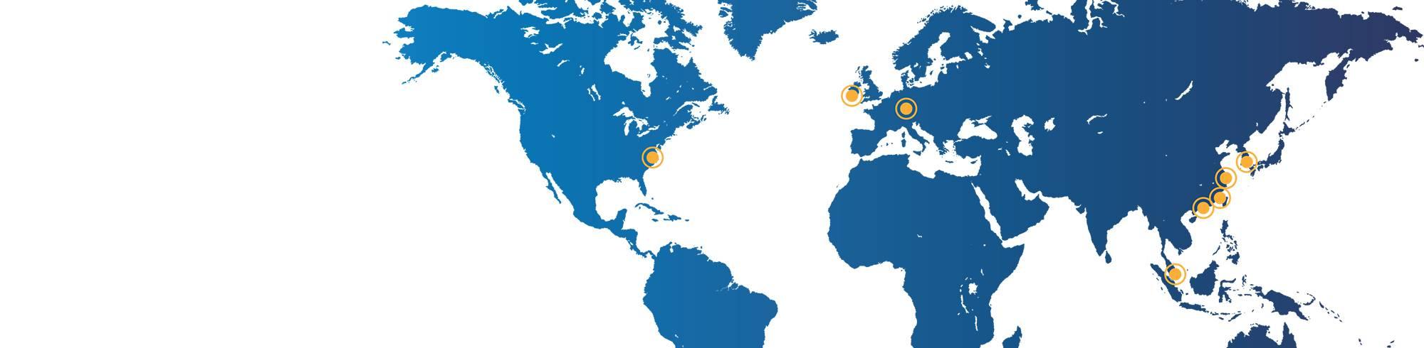 Dymax全球各地的业务点地图,包括北美、亚洲和欧洲
