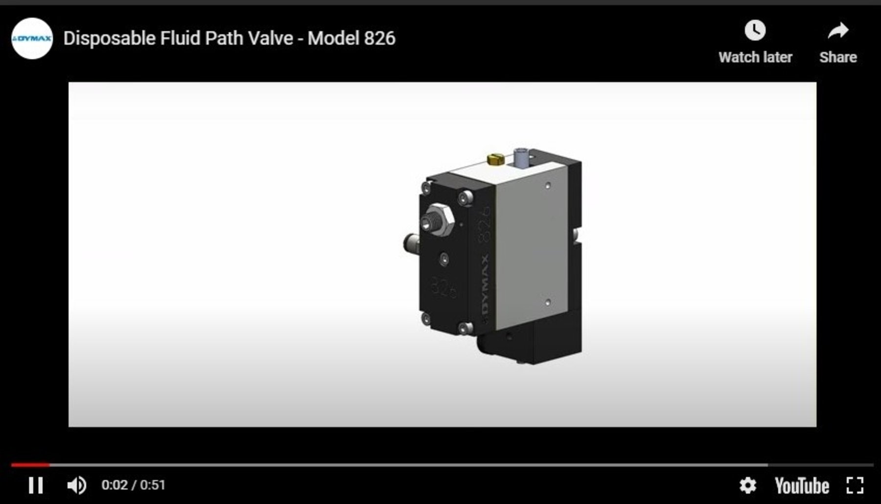 Model 826 Disposable Fluid Path Dispense Valve