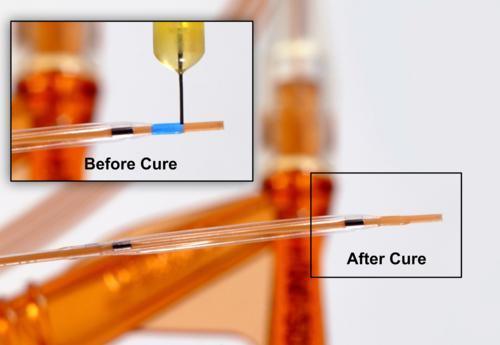 Dymax See-Cure-Technologie für lichthärtende Klebstoffe vor und nach der Aushärtung